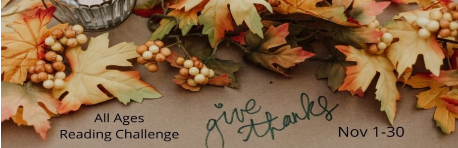 Give Thanks!  Reading Challenge for all ages. November 1-30